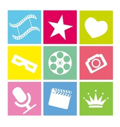 Set of flat neon colored cinema icons vector image vector image