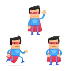 set of funny cartoon superhero vector image