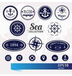 Set of vintage retro nautical badges labels and vector image