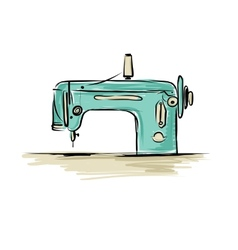 Sewing machine retro sketch for your design vector image vector image