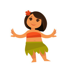 Small girl in hawaiian traditional clothes vector