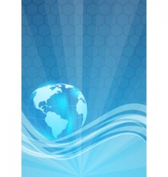 template with hexagon and globe vector image vector image