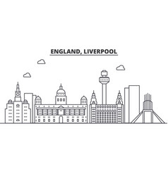 Uk liverpool architecture line skyline vector