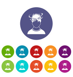 man with dizziness set icons vector image