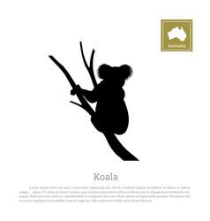 black silhouette of koala on white background vector image