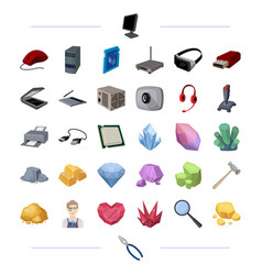 Computer hardware and other web icon in cartoon vector