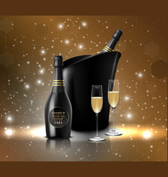 Wineglass with black wine bottles of champagne in vector