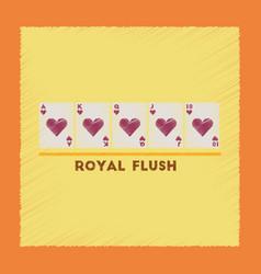 Flat shading style icon royal flush vector