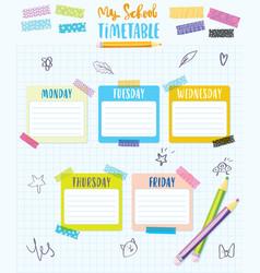 my school timetable schedule back to school vector image