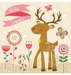 Hello spring card with deer vector