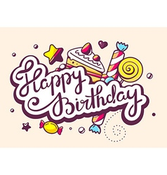 Calligraphy text happy birthday with swee vector