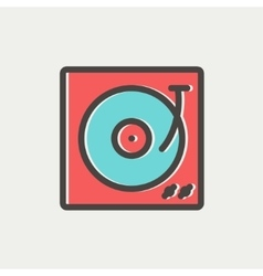 Turntable with vinyl disc thin line icon vector