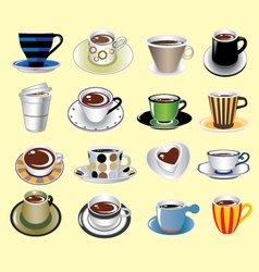 coffee cup types icons set vector image