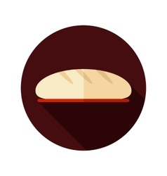 Bread flat icon with long shadow vector