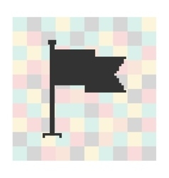Pixel icon flag on a square background vector
