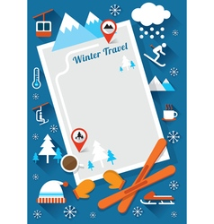 Winter icons frame and background vector