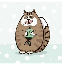 Cute cat holding a fish in paws vector