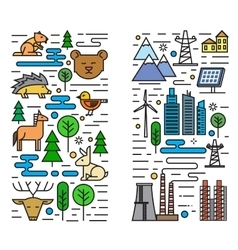 Flat nature and city vector