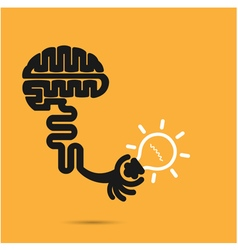 Brain icon and light bulb symbol vector