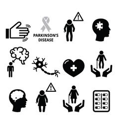 Parkinsons disease seniors health icons set vector