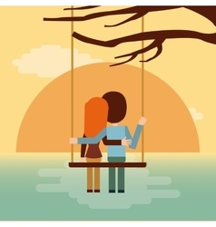 Couple on swing seeing the sunset icon vector