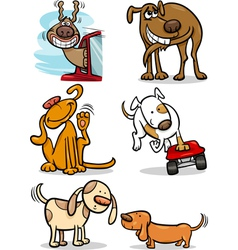 cartoon cute dogs set vector image