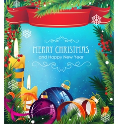 Christmas ornaments on blue background vector