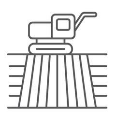Combine harvester on field thin line icon farming vector