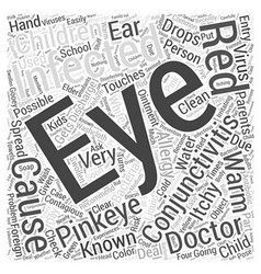 Conjunctivitis or pinkeye in children word cloud vector