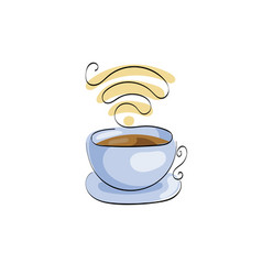 Cup of coffee or tea free wifi for street cafe vector