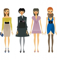 fashionable girls vector image vector image