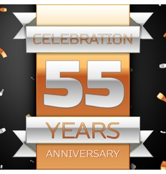 Fifty five years anniversary celebration golden vector