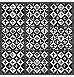 Fleur de lis seamless patterns set vector image