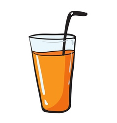 glass and straw vector image vector image