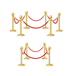 Gold rope barrier constructor set vector
