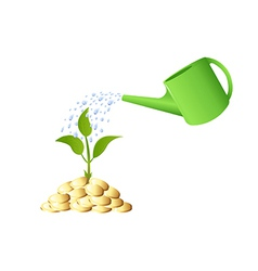 Green young plant with money and watering can vector