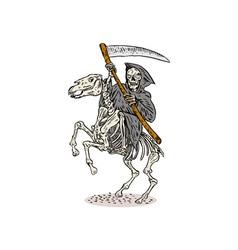 Grim reaper skeleton horseback vector