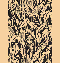 Hand drawn floral seamless pattern with leaves vector