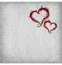 Heart baroque red two background vector