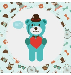 Hipster Bear holding Heart vector image vector image