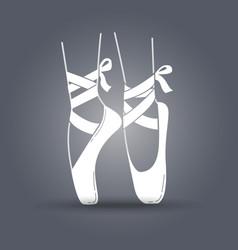 Icon ballerinas feet on pointes black and white vector