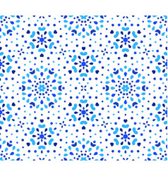 Indigo dots blue flower pattern vector