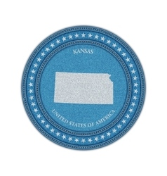 Label with map of kansas Denim style vector image vector image