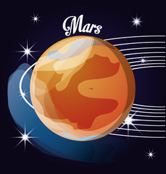Mars planet in the solar system creation vector