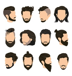 Men hairstyle icons set vector