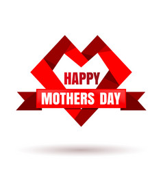 mothers day design with red heart vector image