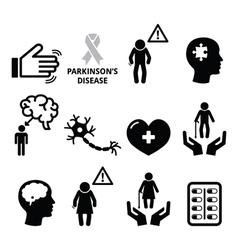 Parkinsons disease seniors health icons set vector