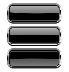 rectangle black buttons with bold chrome frame 3d vector image vector image
