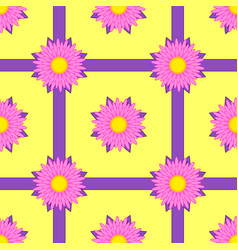 seamless pattern of pink flowers with purple vector image vector image