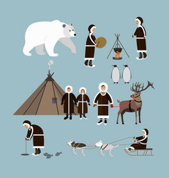 Set of arctic people and animals flat style vector